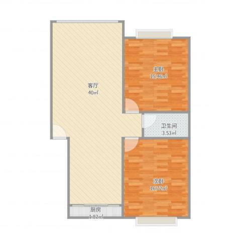 逸东花园2室1厅1卫1厨103.00㎡户型图