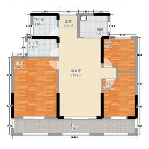 湘水郡3室1厅2卫1厨12124.00㎡户型图