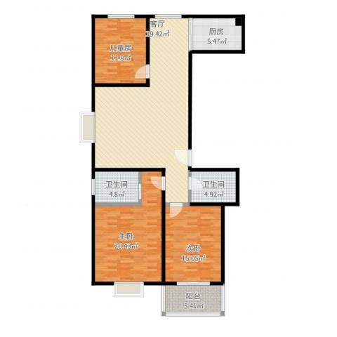 安鑫苑3室1厅2卫1厨150.00㎡户型图