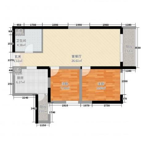 冠嘉冠城2室1厅1卫1厨88.00㎡户型图