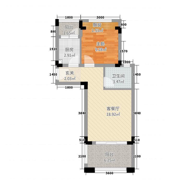 天籁谷国际度假区52.30㎡一期MINI别墅C1一层3号楼户型1室2厅1卫1厨
