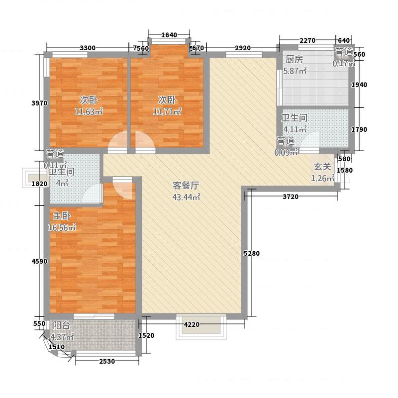大秦左岸32137.75㎡D户型3室2厅2卫