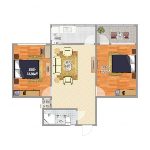 北全福小区2室1厅1卫1厨79.00㎡户型图
