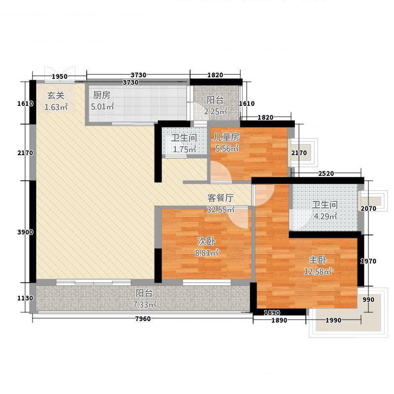 山水融城23117.52㎡C2户型3室2厅2卫1厨