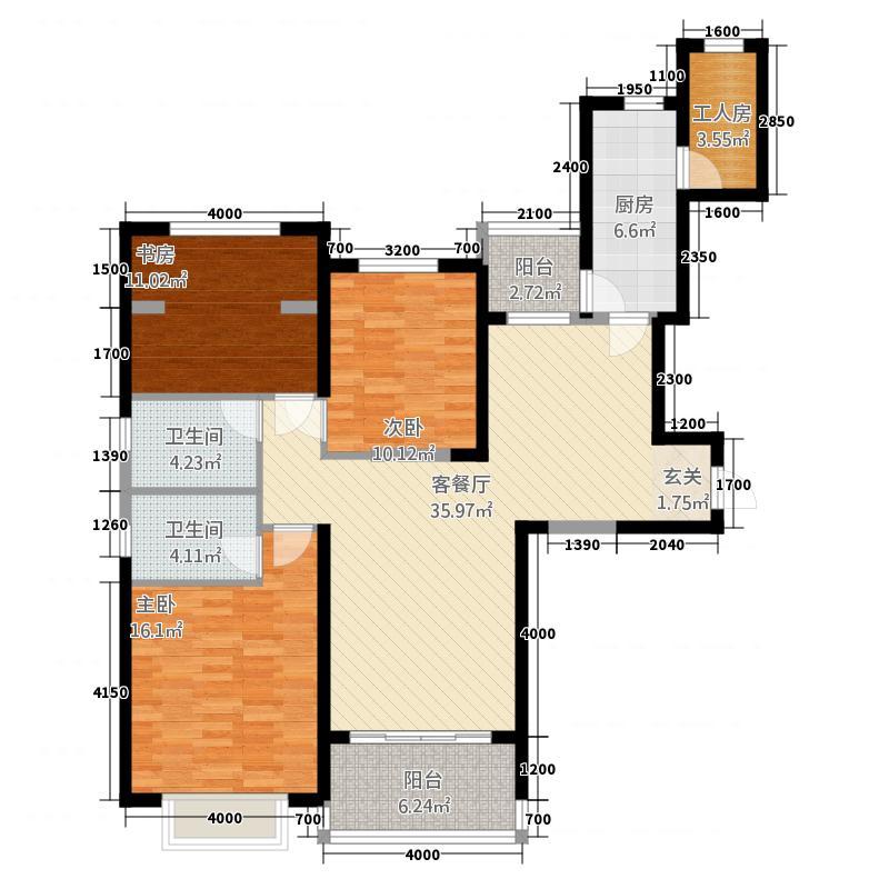 恒大帝景125142.20㎡1号楼-2、5号楼-1-2、6号楼-2、7号楼-1户型4室2厅2卫1厨
