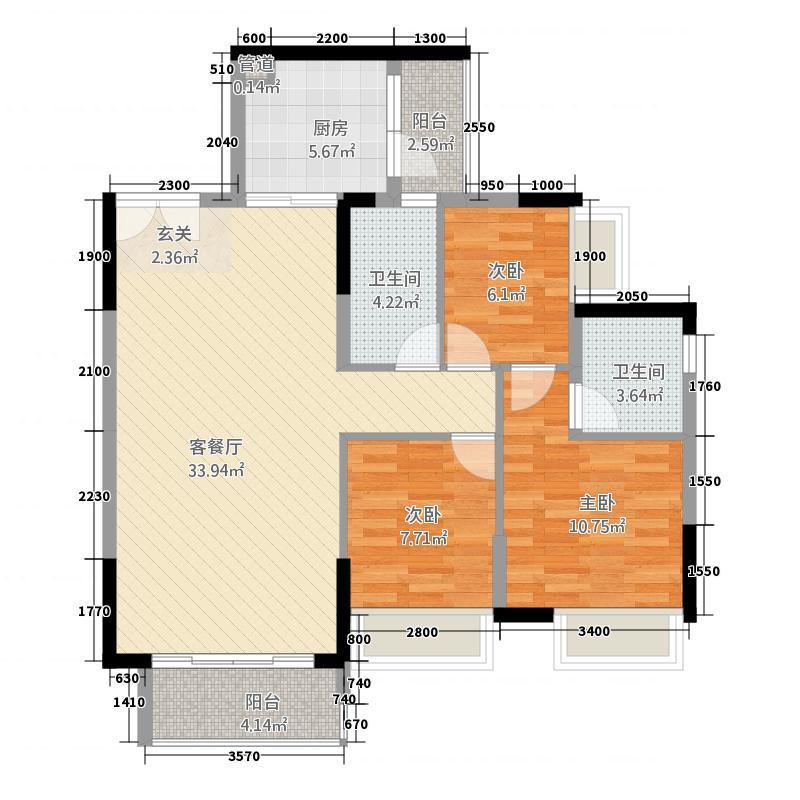 锦江国际新城12.20㎡19/20栋02单位户型3室2厅2卫1厨