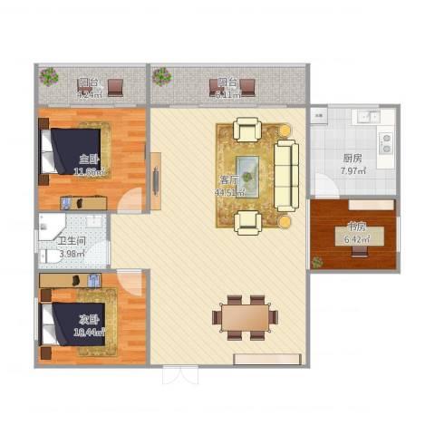 仙洞苑3室1厅1卫1厨127.00㎡户型图