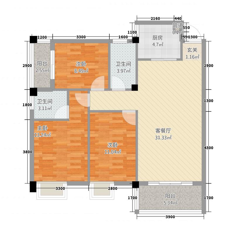 锦绣榕园132.20㎡H1户型2厅