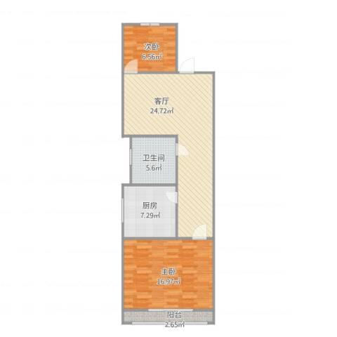黄寺大街24号院3-5-6022室1厅1卫1厨86.00㎡户型图