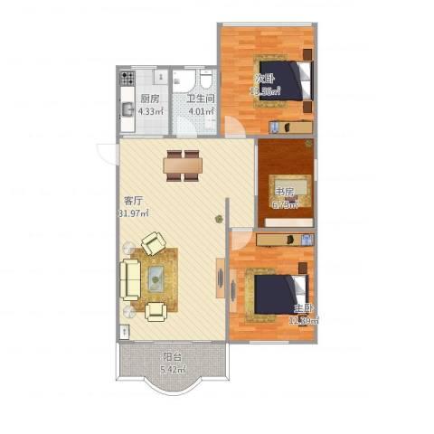 松柏华庭3室1厅1卫1厨105.00㎡户型图
