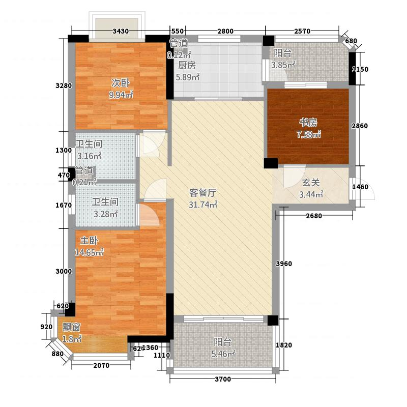 碧桂园城市花园122.20㎡精装洋房J582A户型3室2厅2卫1厨