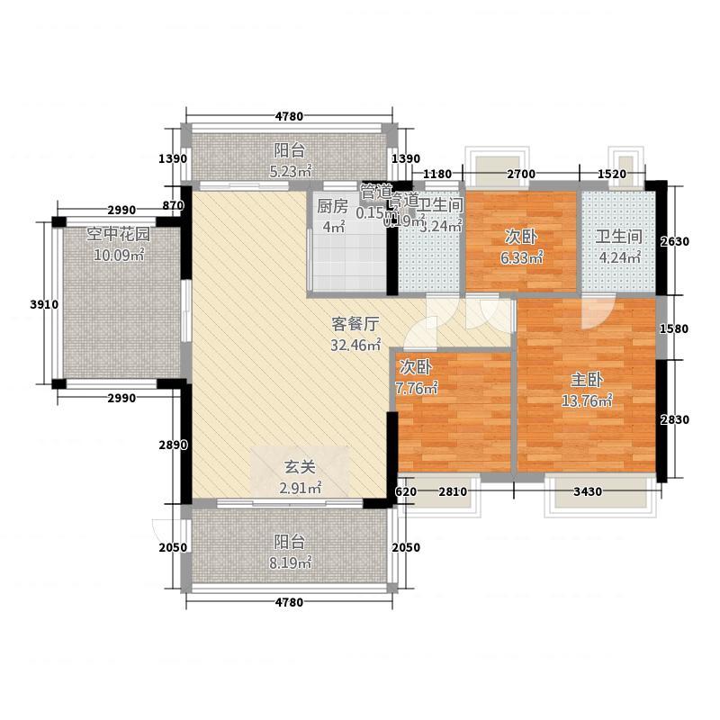 怡翠馨园18.00㎡7座02单位3+1户型4室2厅2卫1厨
