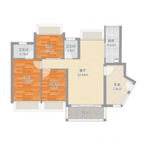 秋谷康城3室1厅2卫1厨102.00㎡户型图
