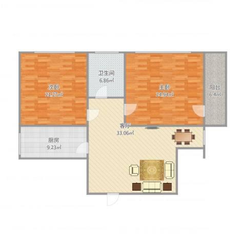 购物中心2室1厅1卫1厨135.00㎡户型图
