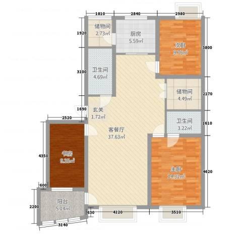湖畔水竹苑3室1厅2卫1厨138.00㎡户型图