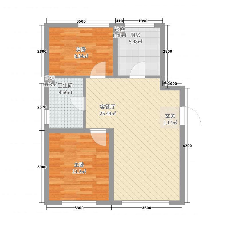 置信・澜悦东方85.86㎡H户型2室1厅1卫1厨