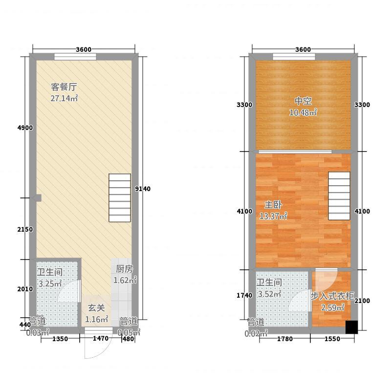 铂金湾12.20㎡1单元B2室户型2室2厅2卫1厨