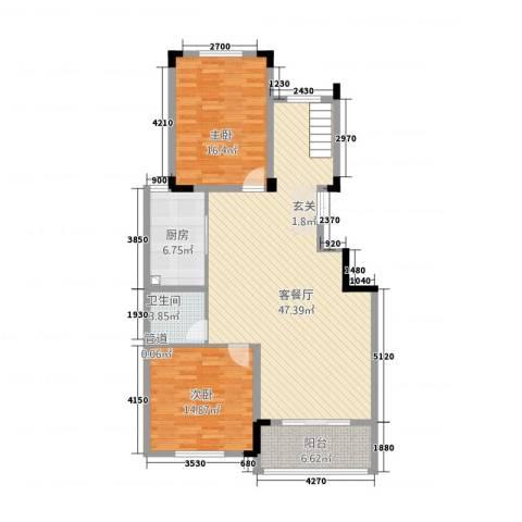 名城2室1厅1卫1厨134.00㎡户型图