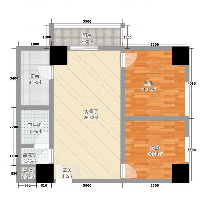 金港新城商住楼5.87㎡J户型2室2厅1卫1厨