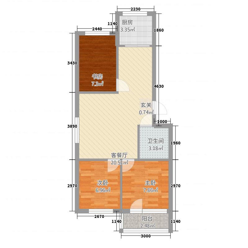 金盛花园3385.20㎡3#d户型3室2厅1卫1厨
