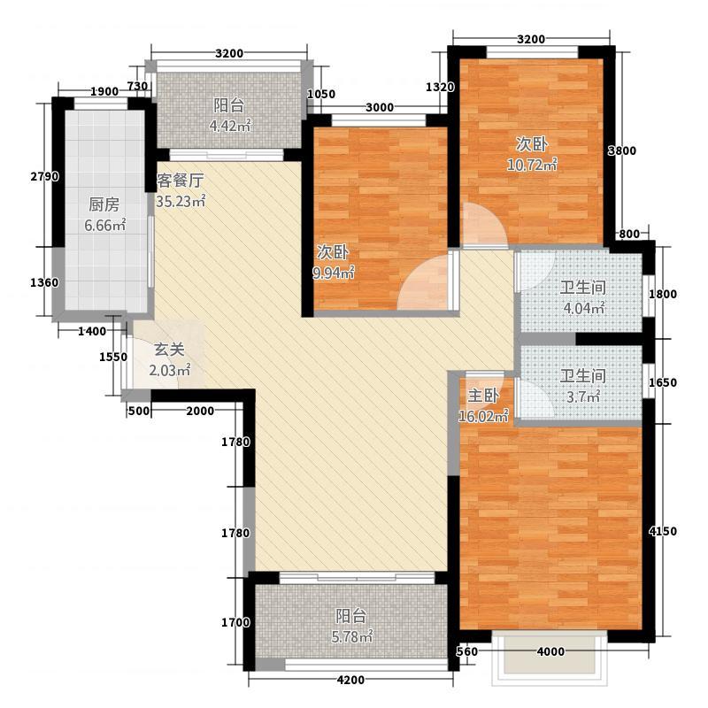 恒大帝景112134.20㎡11号楼2单元A3室户型3室2厅2卫1厨