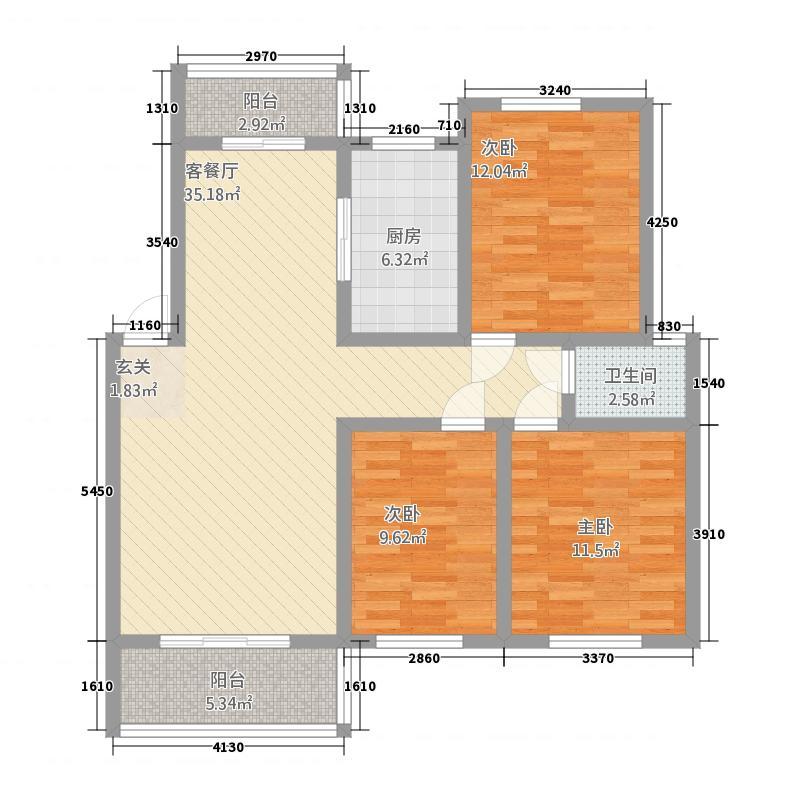 姜水龙湾二期13124.22㎡C户型3室2厅1卫1厨