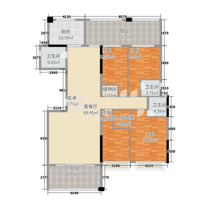 华美春天225.80㎡单张(5栋03)户型4室2厅3卫1厨