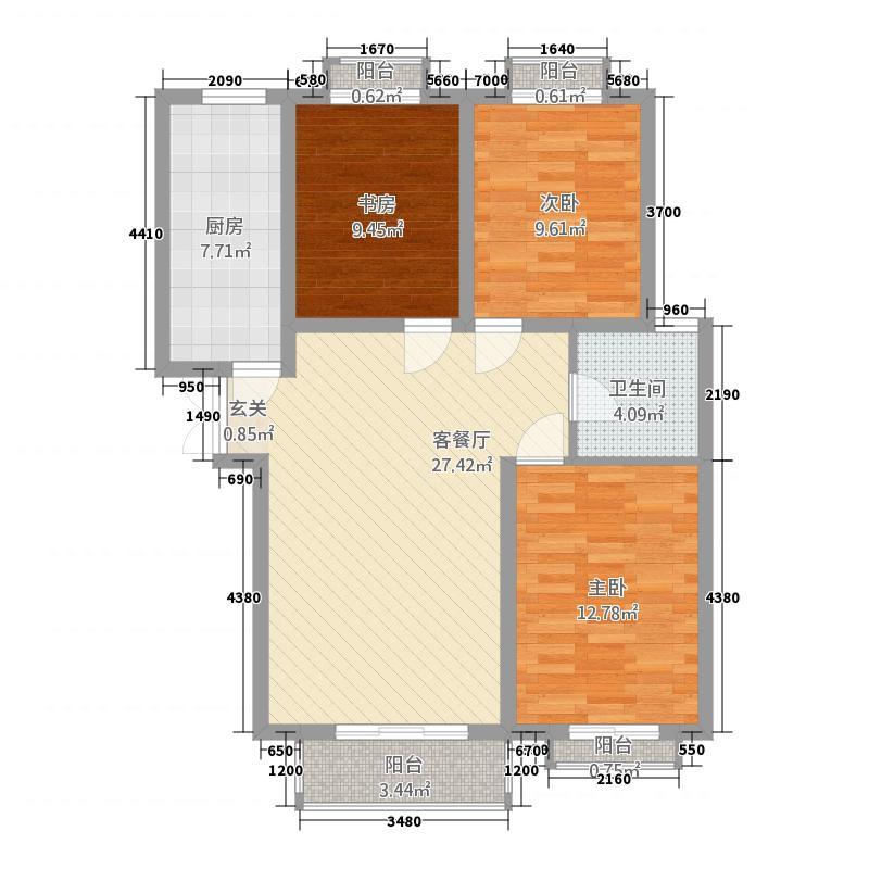 龙泽国际73114.82㎡7#D-3户型3室2厅1卫1厨
