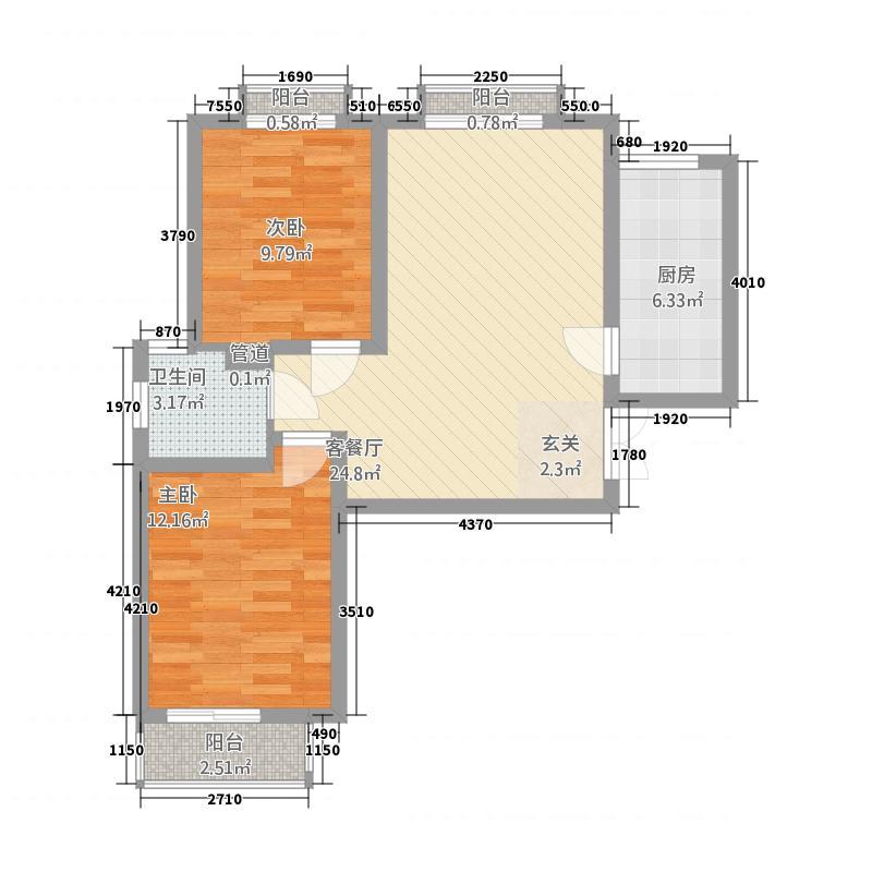 龙泽国际12611.82㎡1#2#6#10#11#C-1户型2室1厅1卫1厨