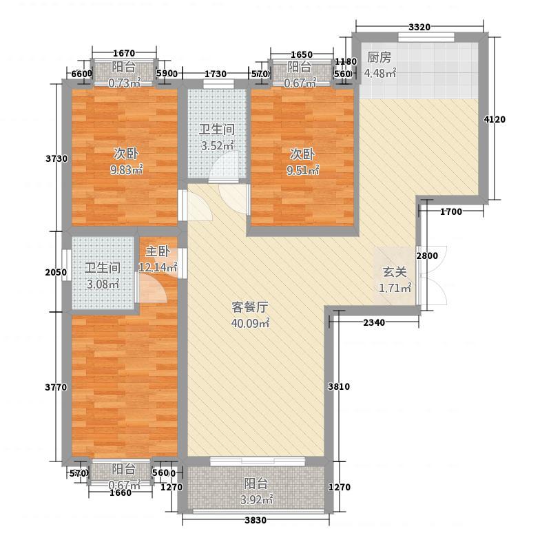 龙泽国际812111.50㎡8#12#A-1户型3室2厅2卫1厨