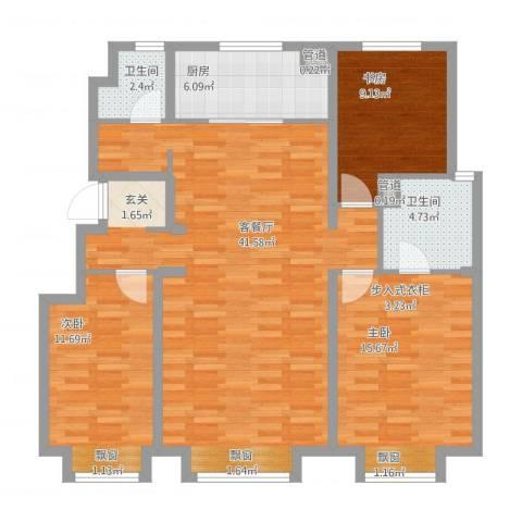 万科蓝山3室1厅2卫1厨130.00㎡户型图