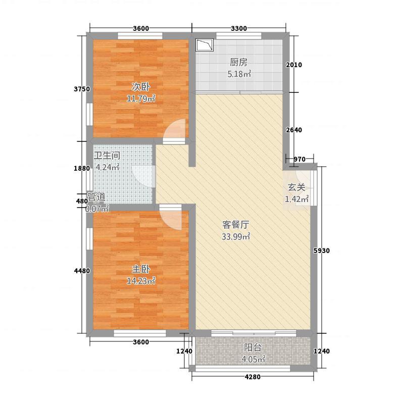 景苑公寓A户型2室2厅1卫1厨