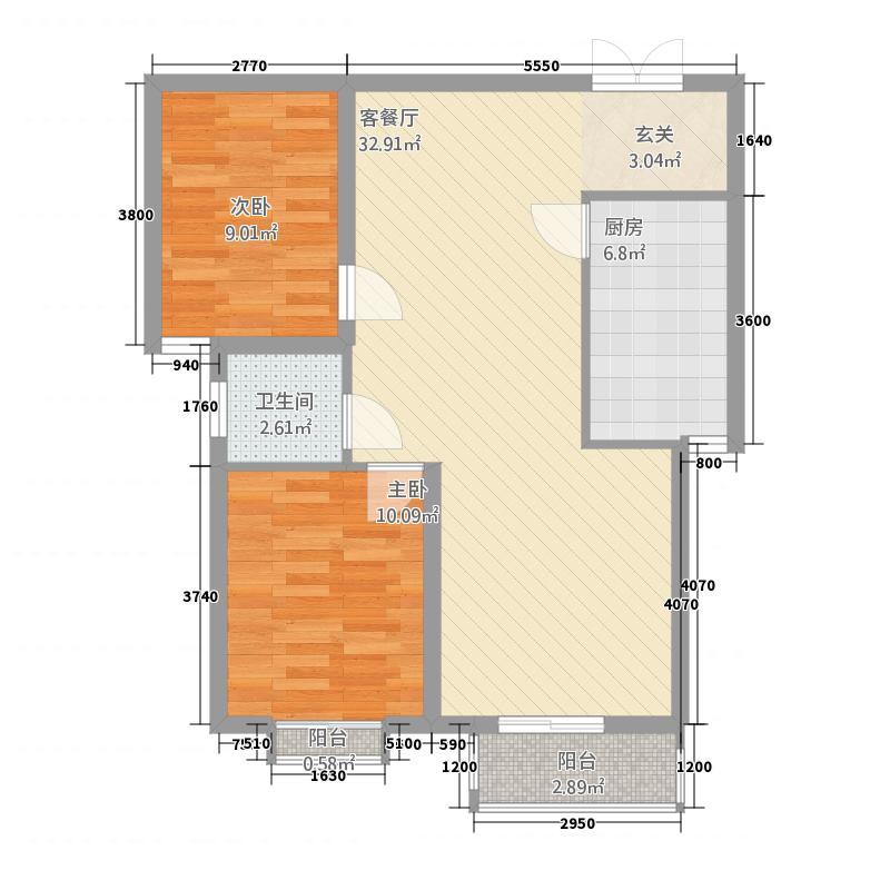 龙泽国际81223.42㎡8#12#A-2户型2室2厅1卫1厨
