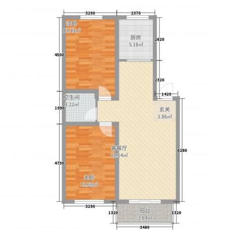 良东花园2室1厅1卫1厨67.60㎡户型图