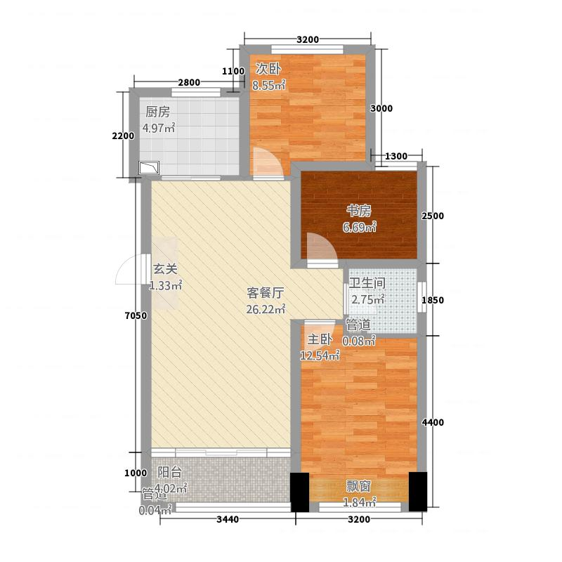 主语城15637.17㎡15#06户型3室2厅1卫