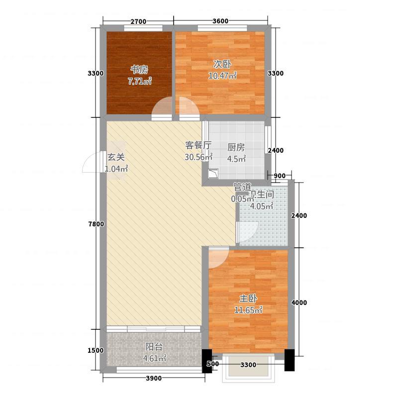 主语城111515.20㎡11#户型3室2厅1卫1厨