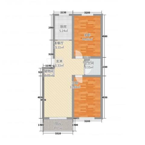 良东花园2室1厅1卫1厨66.47㎡户型图