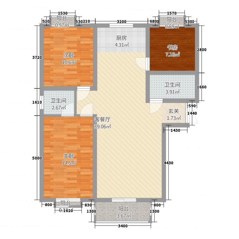 龙泽国际7161125.00㎡7#16#D-1户型3室2厅2卫1厨
