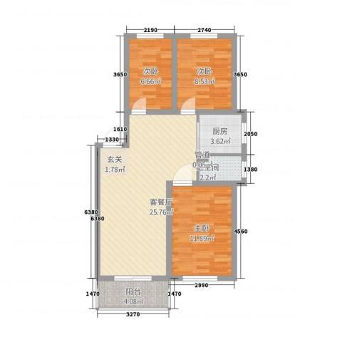 良东花园3室1厅1卫1厨62.80㎡户型图