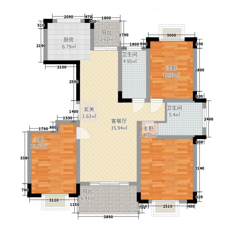 豪盛百合丽城3611811.25㎡3K户型3室2厅2卫1厨