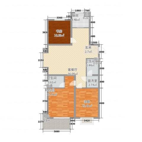 御园3室2厅2卫1厨139.00㎡户型图