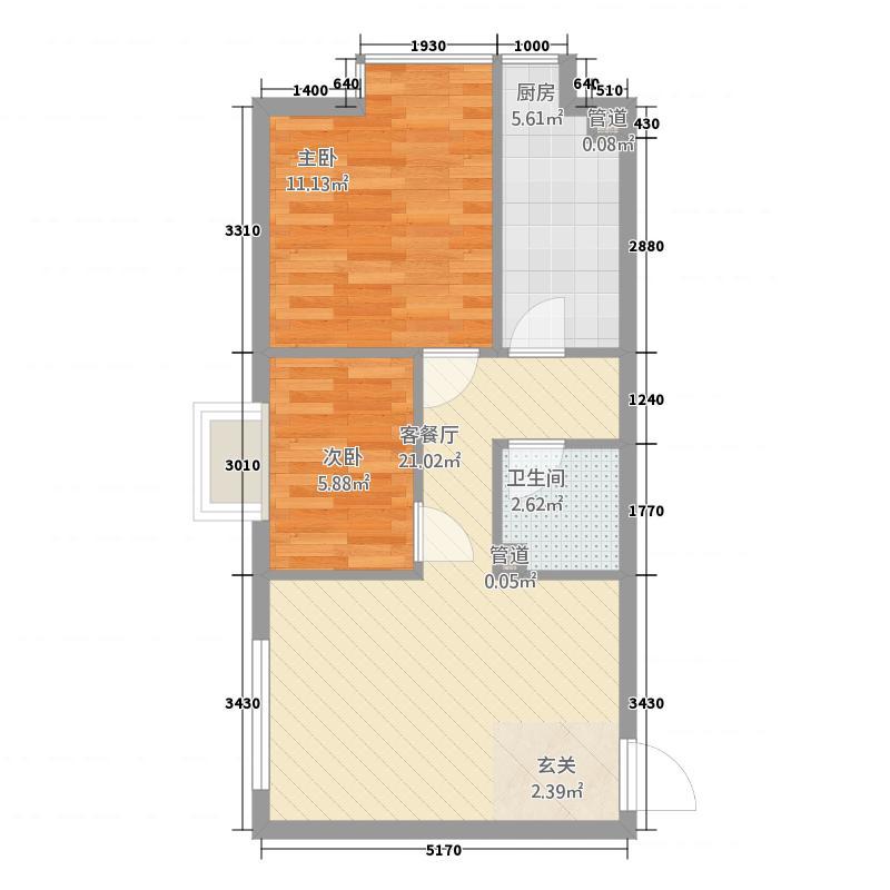 御园65.35㎡一期1号楼B座A户型2室2厅1卫1厨