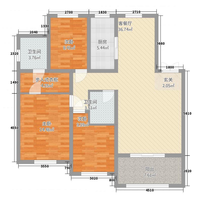 美仑环球港5151.20㎡G5户型3室2厅2卫1厨