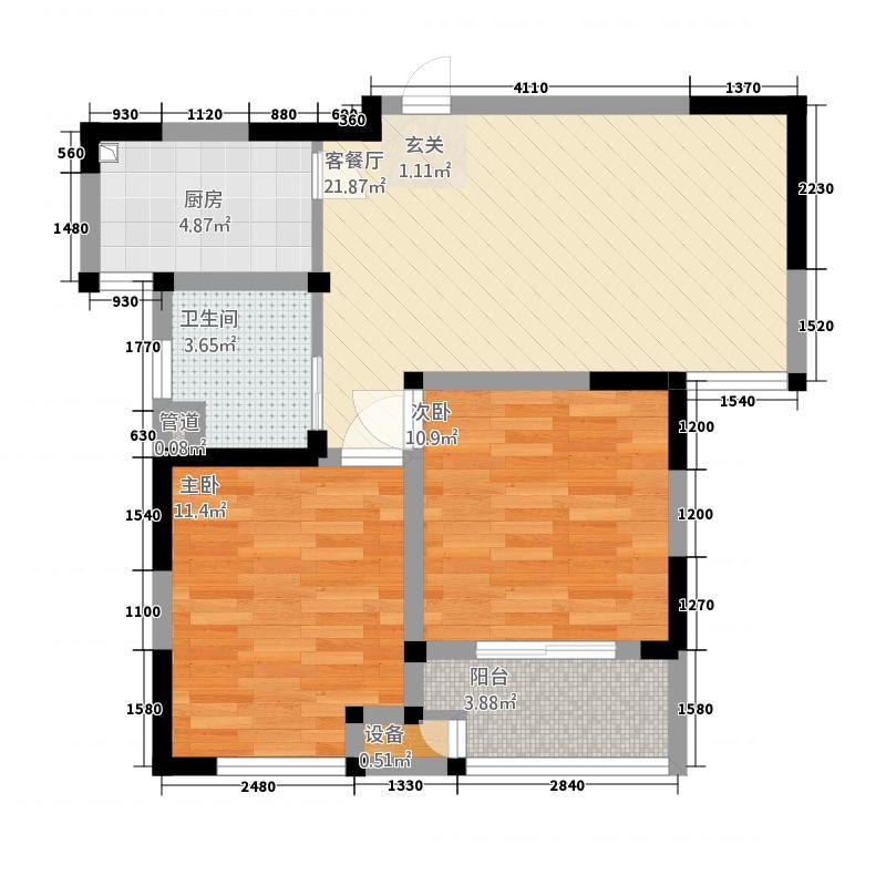 花园西郡83.27㎡K户型2室2厅1卫1厨