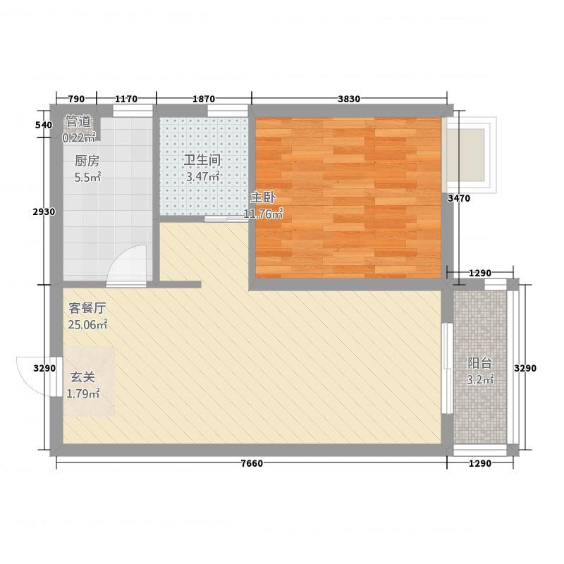 天鸿万象新天7.20㎡北区剑桥郡13#、15#-19#楼标准层G-1户型1室1厅1卫1厨