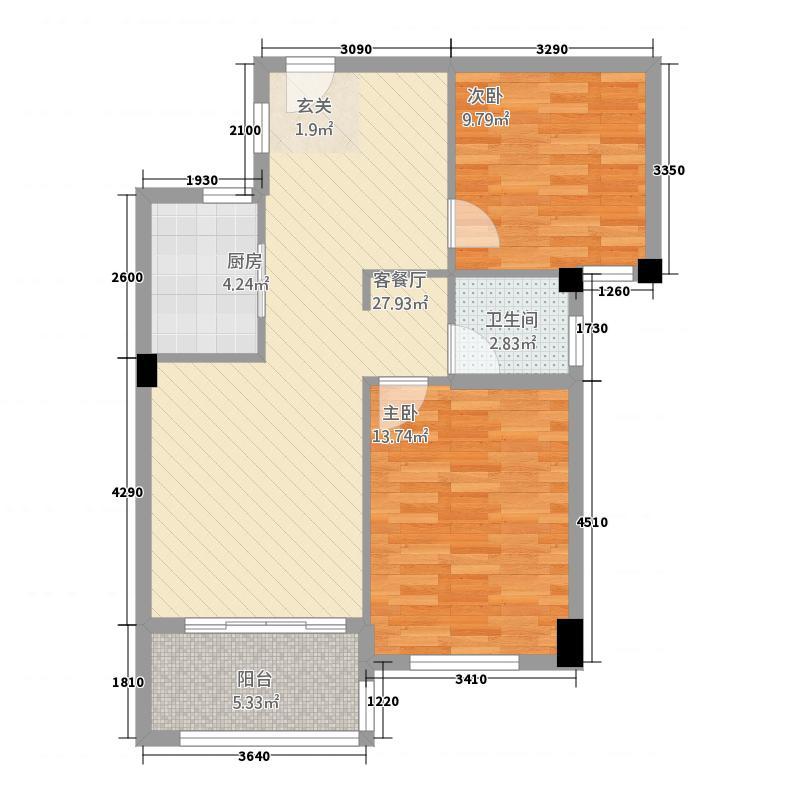 融信观山海3878.20㎡一期3、8#C1/C2户型2室2厅1卫