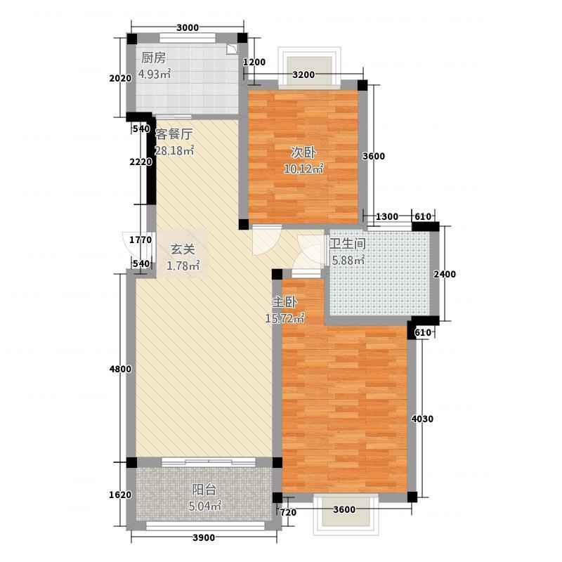 豪盛百合丽城741186.81㎡7Y户型2室2厅1卫1厨