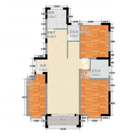锦泰佳苑3室1厅2卫1厨136.00㎡户型图