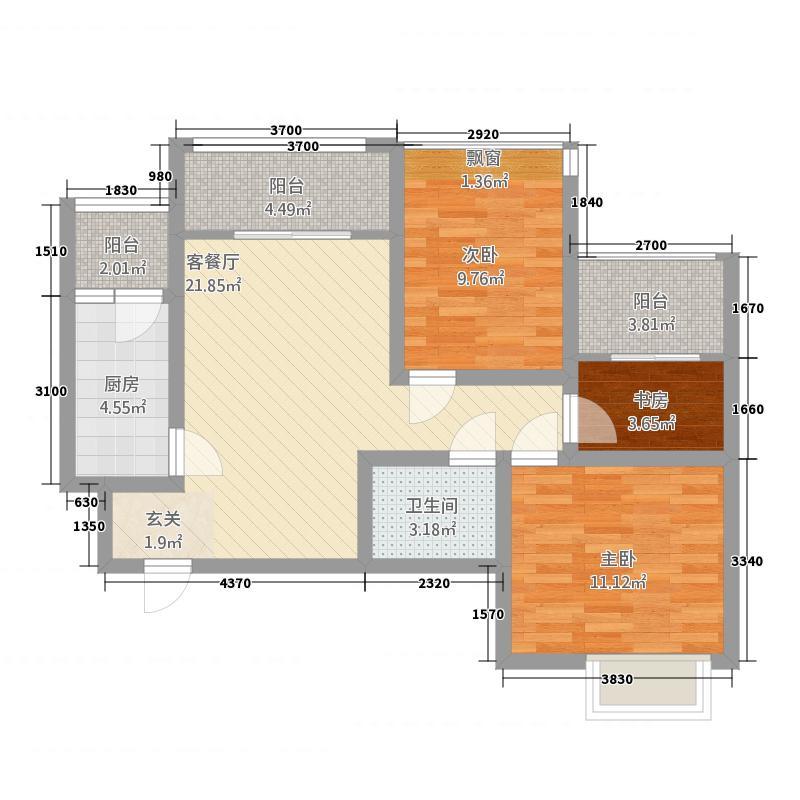 澜岸・泊宫11.18㎡E户型3室1厅1卫1厨