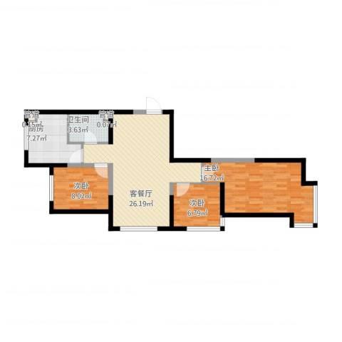 丽晶公馆3室1厅1卫1厨99.00㎡户型图
